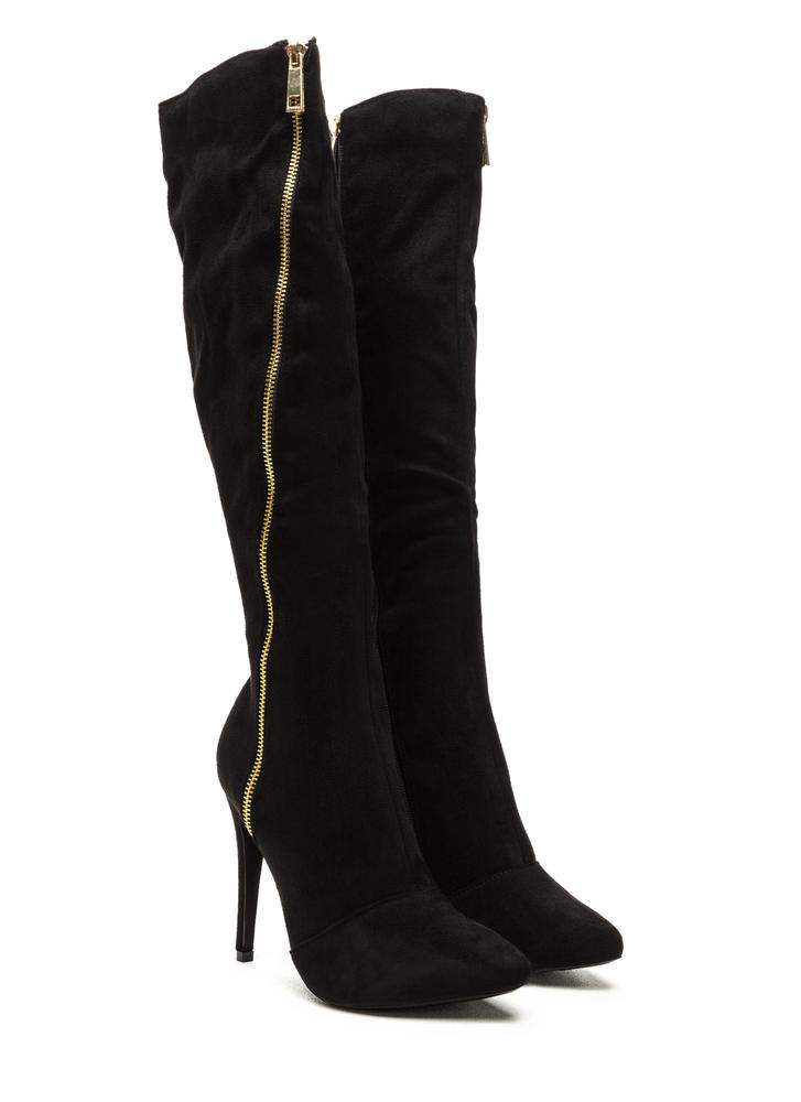 On A Diagonal Pointy Zip-Up Boots BLACK