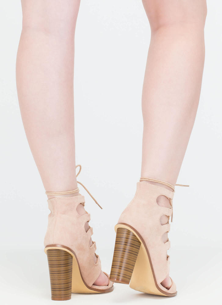 Foot Notes Lace-Up Chunky Heels NUDE