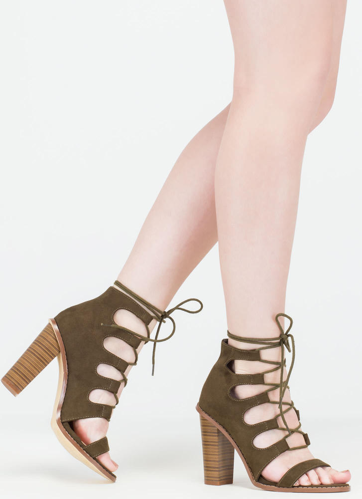 Foot Notes Lace-Up Chunky Heels