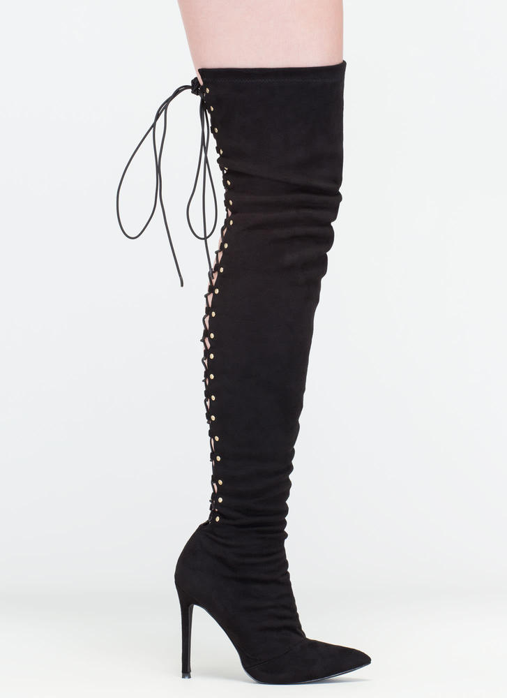 High Fever Over-The-Knee Lace-Up Boots OLIVE BLACK TAUPE - GoJane.com
