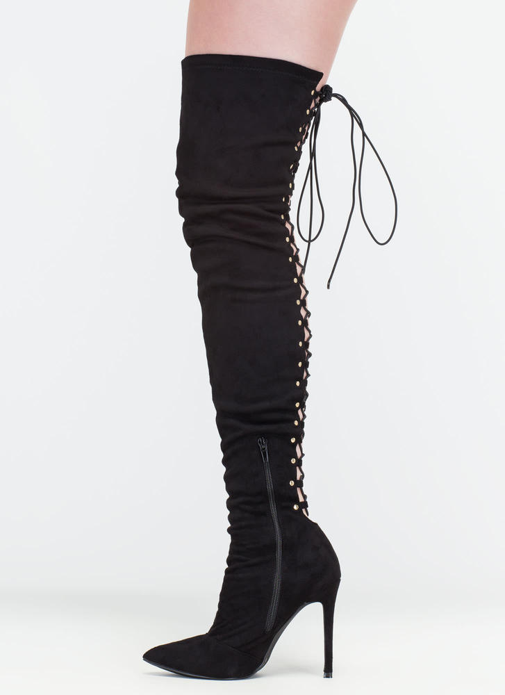 High Fever Over-The-Knee Lace-Up Boots OLIVE TAUPE BLACK - GoJane.com