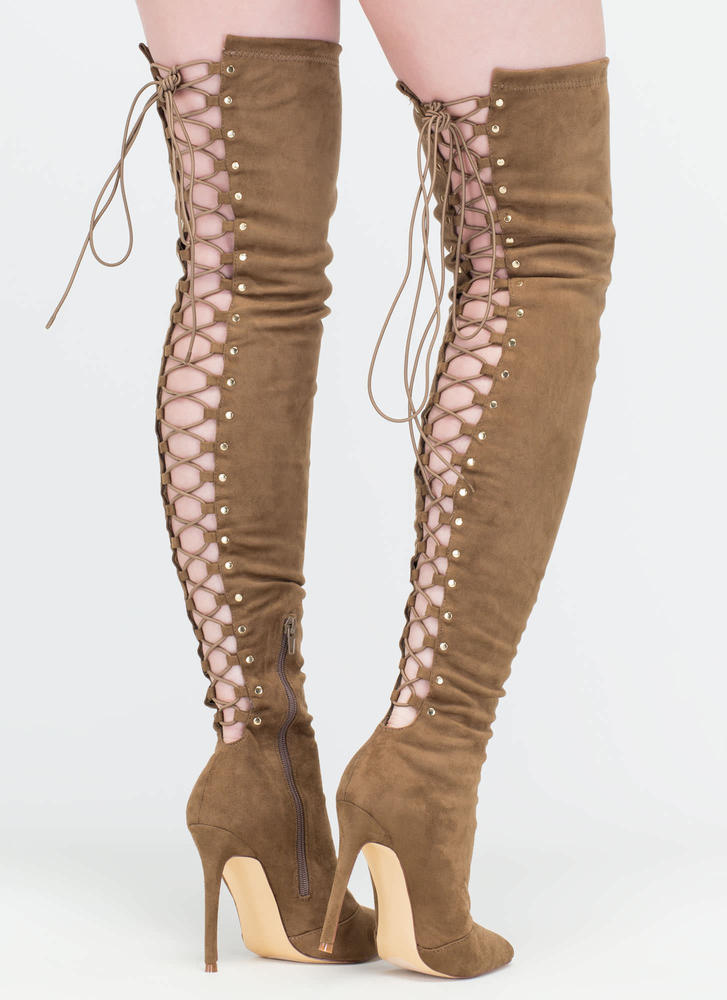 High Fever Over-The-Knee Lace-Up Boots OLIVE TAUPE - GoJane.com
