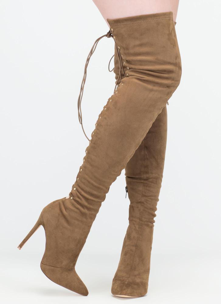 High Fever' Thigh-High Stiletto Boots with Lace Up Back - Red, Black