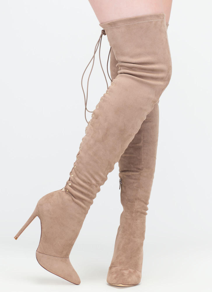 High Fever Over-The-Knee Lace-Up Boots TAUPE