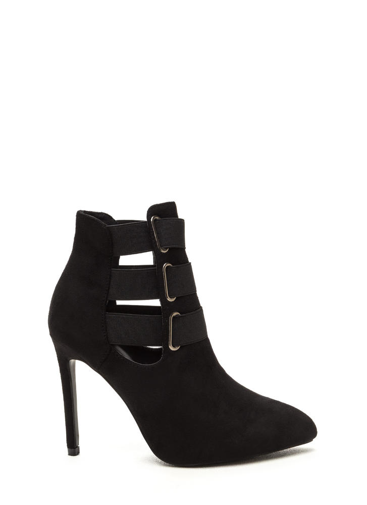 Three Pointer Elastic Strap Booties BLACK