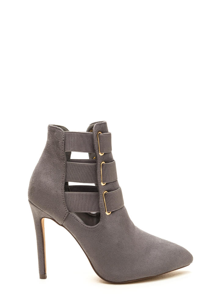 Three Pointer Elastic Strap Booties GREY