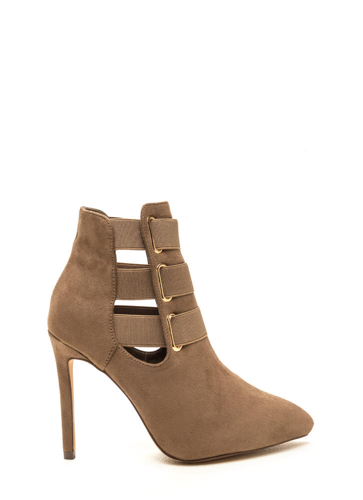Three Pointer Elastic Strap Booties TAUPE