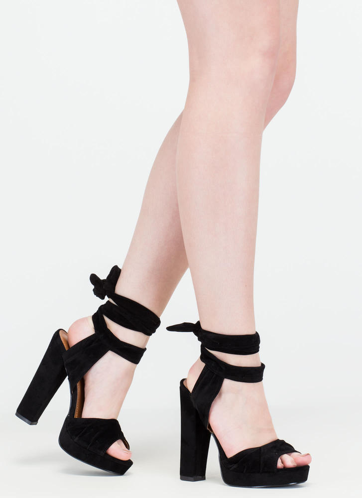 Strapped In Tied Chunky Peep-Toe Heels BLACK