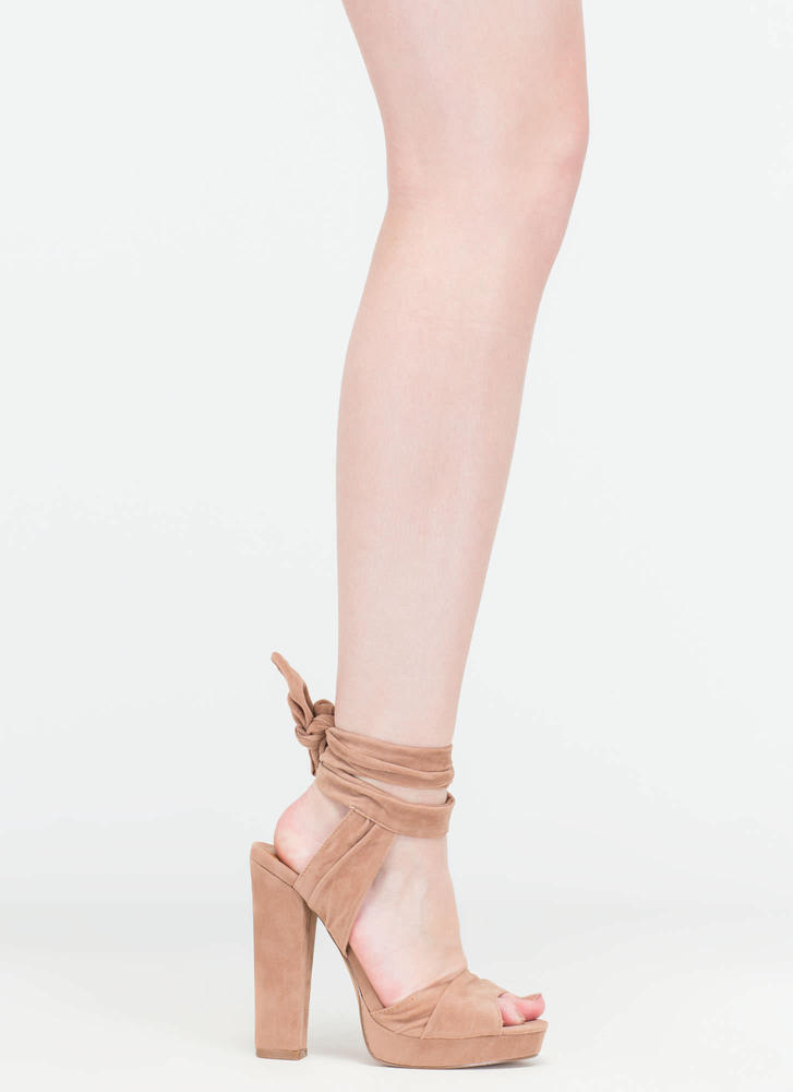 Strapped In Tied Chunky Peep-Toe Heels TAUPE