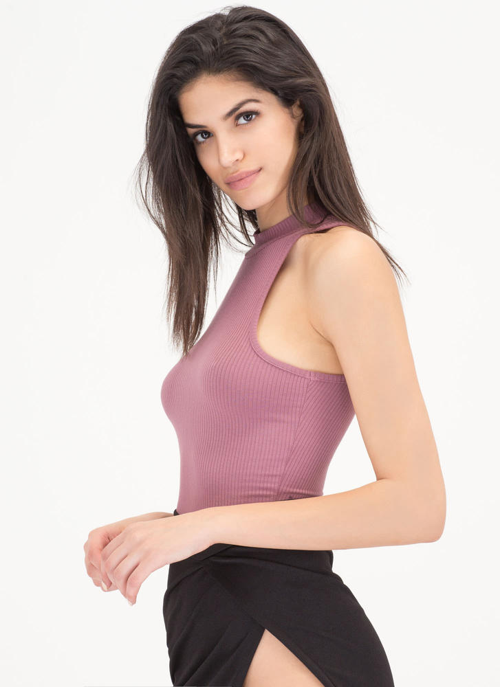 Easy Going Cropped Rib Knit Top DUSTYORCHID