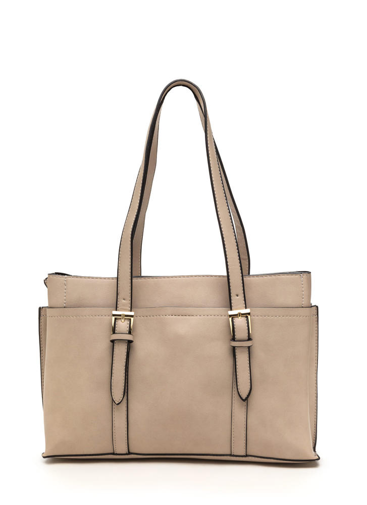 New Classic Faux Leather Tote TAUPE
