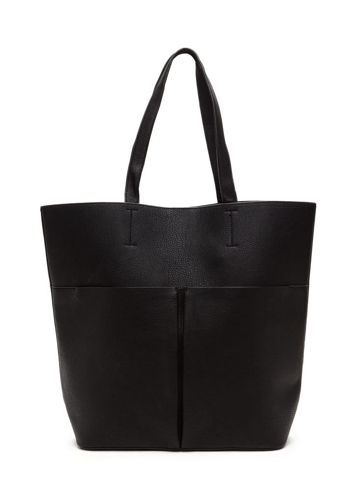Commuter Chic Tote And Clutch Set BLACK