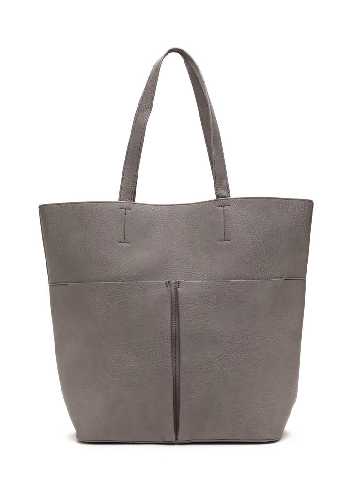 Commuter Chic Tote And Clutch Set GREY