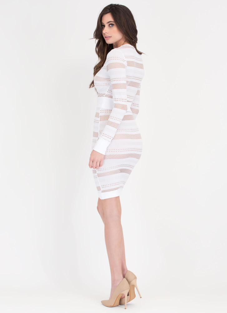 Sheer 'N Bold Perforated Bodycon Dress WHITE