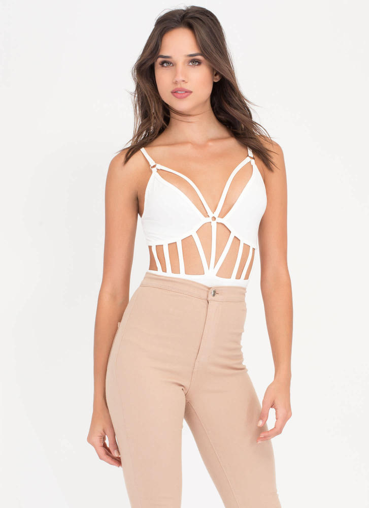 No Doubt Caged Cut-Out Bodysuit WHITE