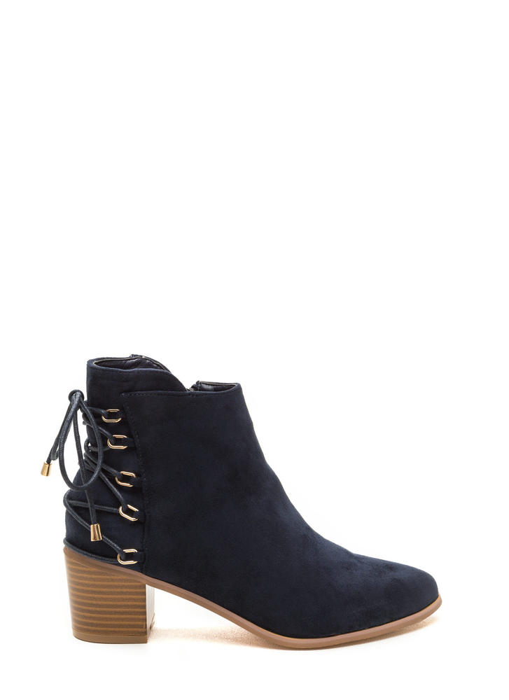 Ring Leader Lace-Up Chunky Booties NAVY (Final Sale)