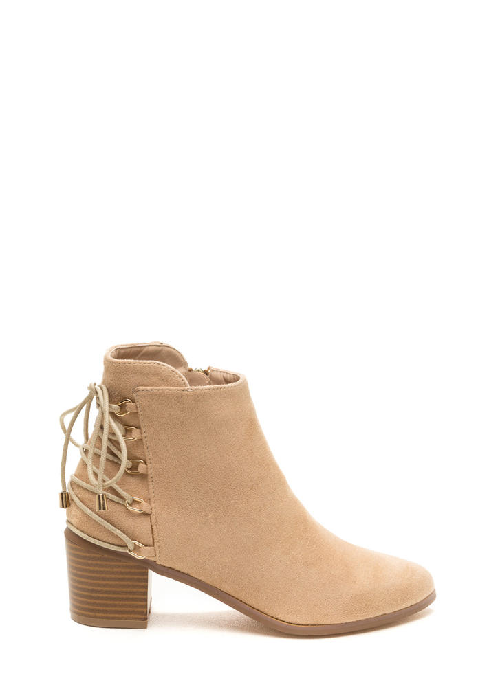 Ring Leader Lace-Up Chunky Booties NUDE (Final Sale)