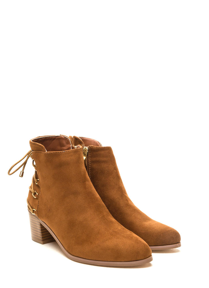 Ring Leader Lace-Up Chunky Booties TAN (Final Sale)