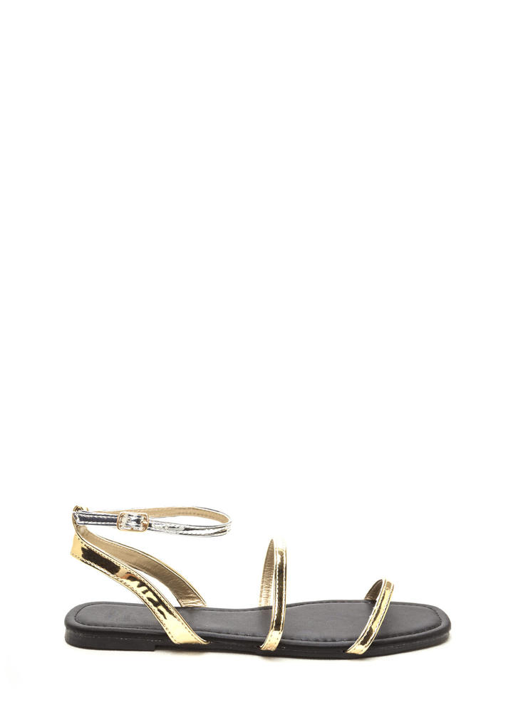 Feet First Metallic Strap Sandals GOLDSILVER