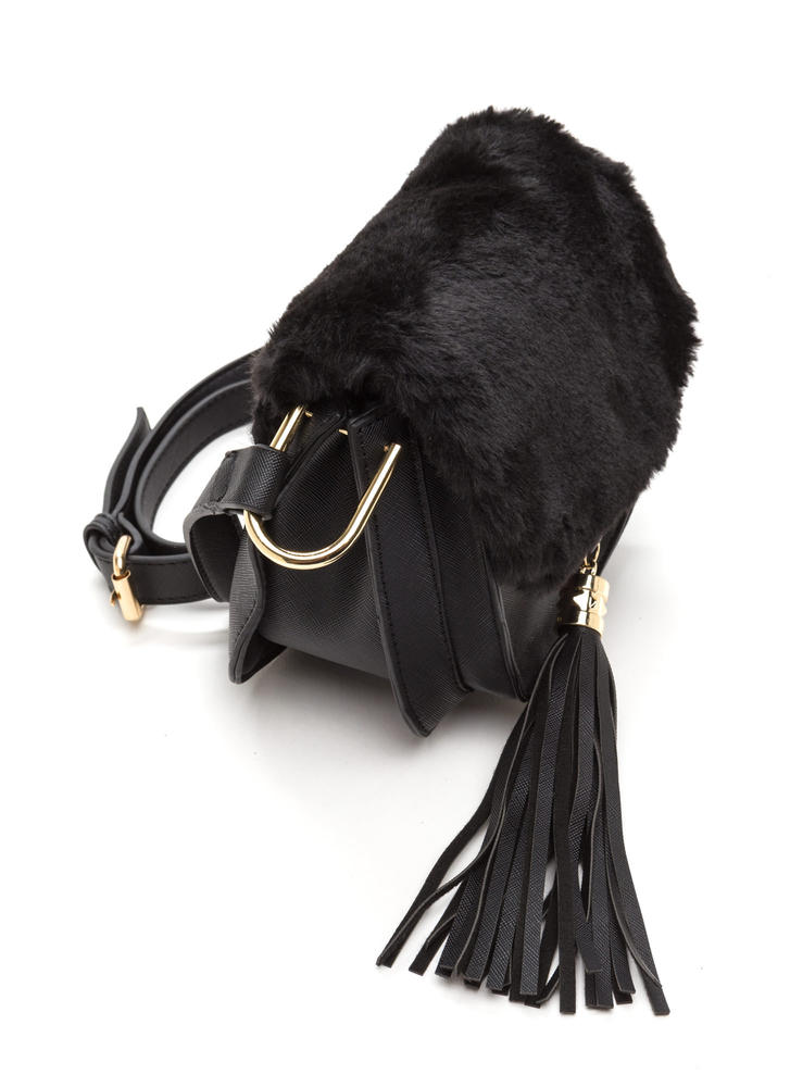 Faux Fur Sure Tasseled Crossbody Bag BLACK