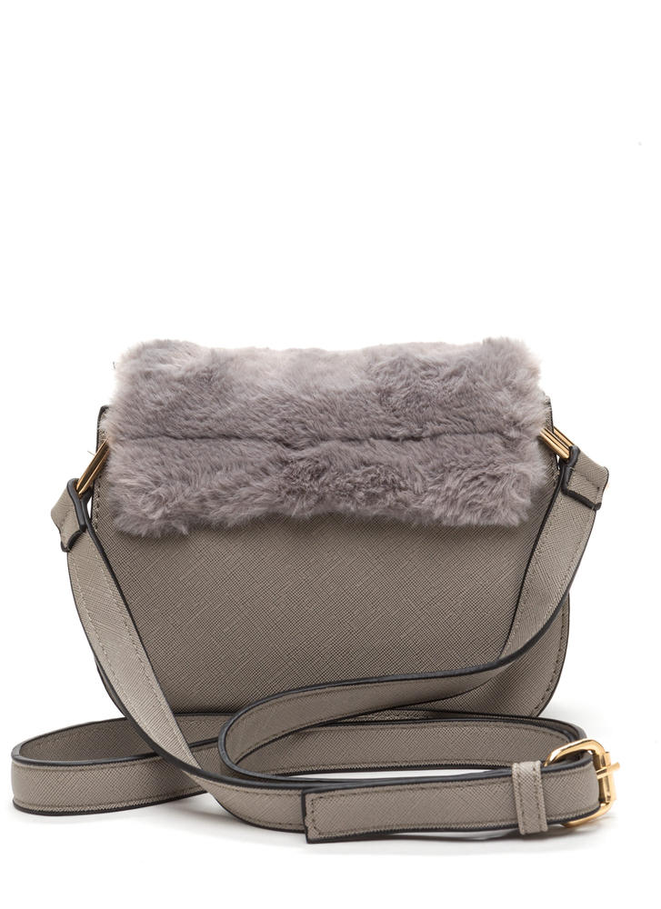 Faux Fur Sure Tasseled Crossbody Bag GREY