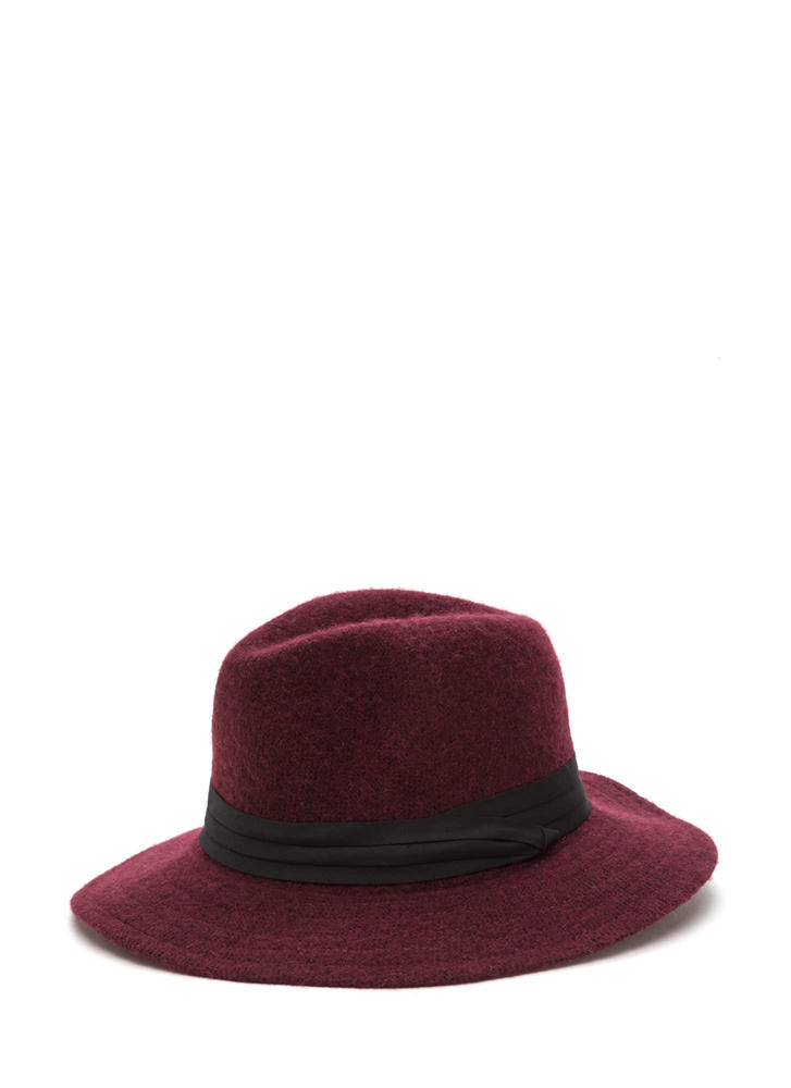 Day In Day Out Wool Fedora Hat BURGUNDY