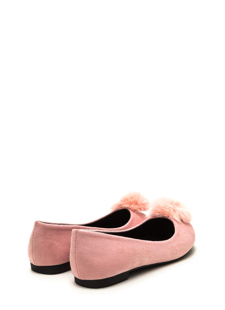 Secret Crush Furry Pom-Pom Ballet Flats BLUSH