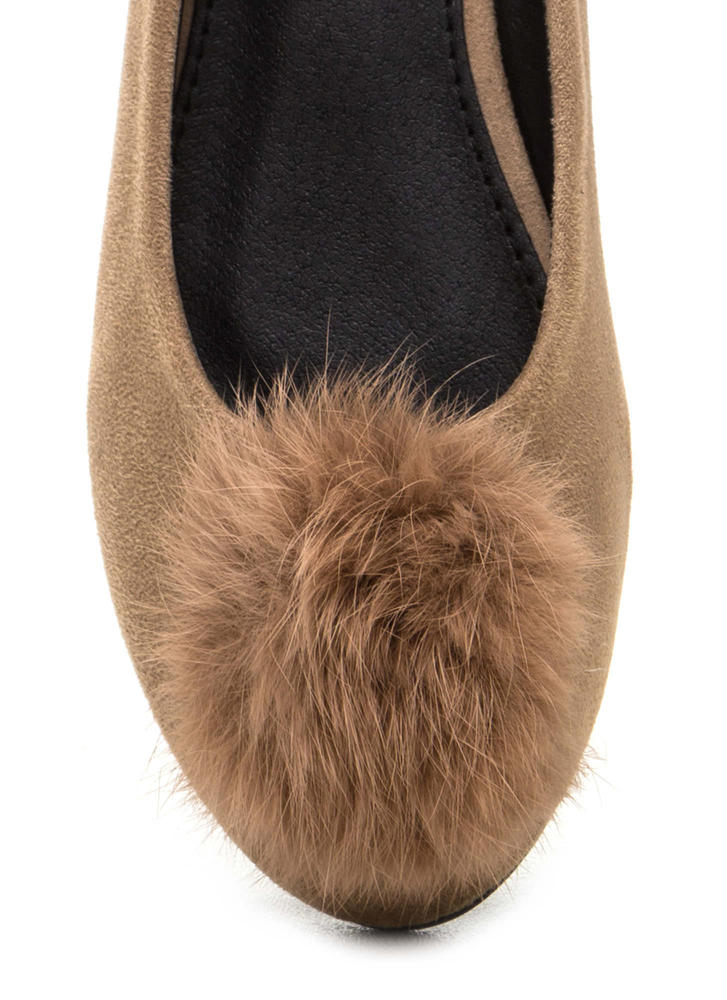Secret Crush Furry Pom-Pom Ballet Flats TAUPE