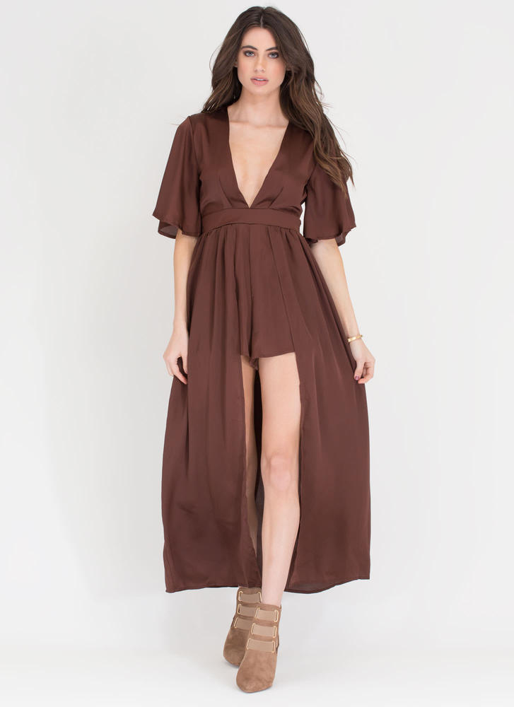 Luxe Life Plunging Satin Maxi COFFEE