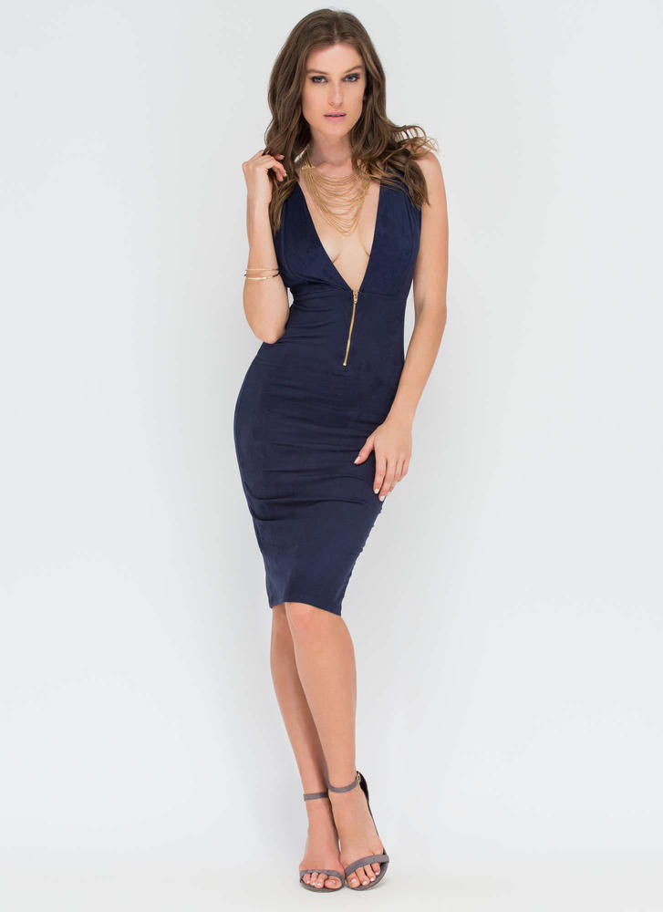 Take Notice Plunging Faux Suede Dress