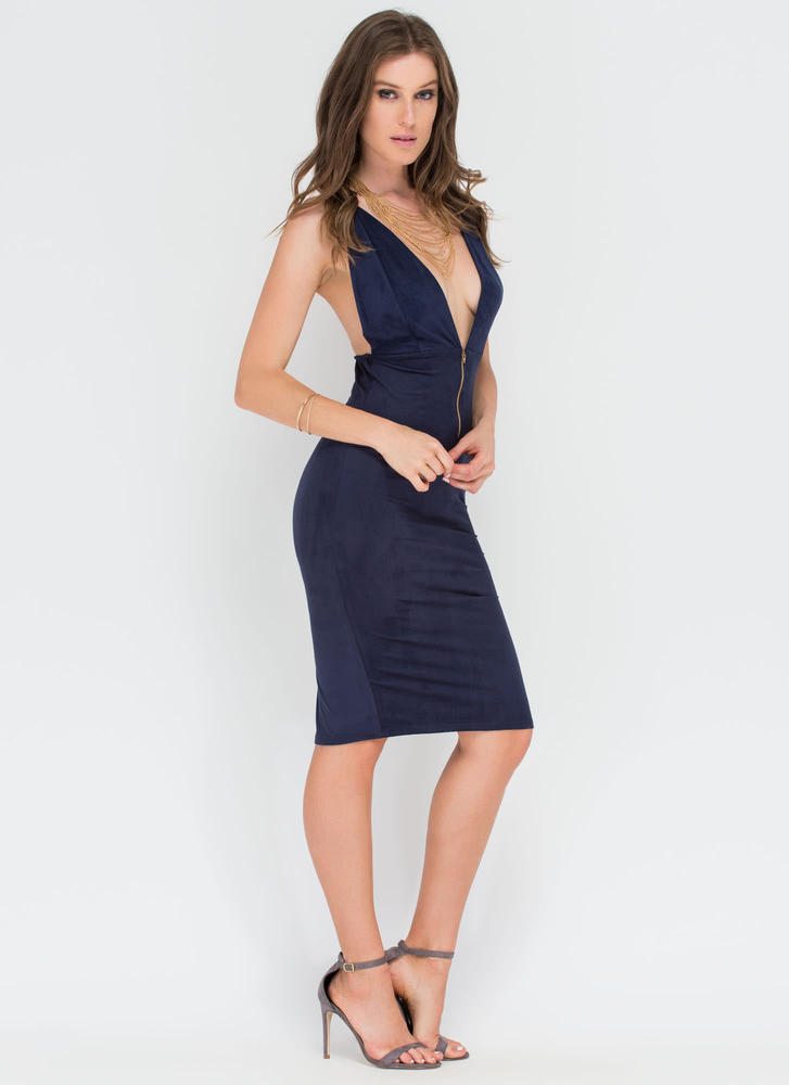 Take Notice Plunging Faux Suede Dress NAVY (Final Sale)