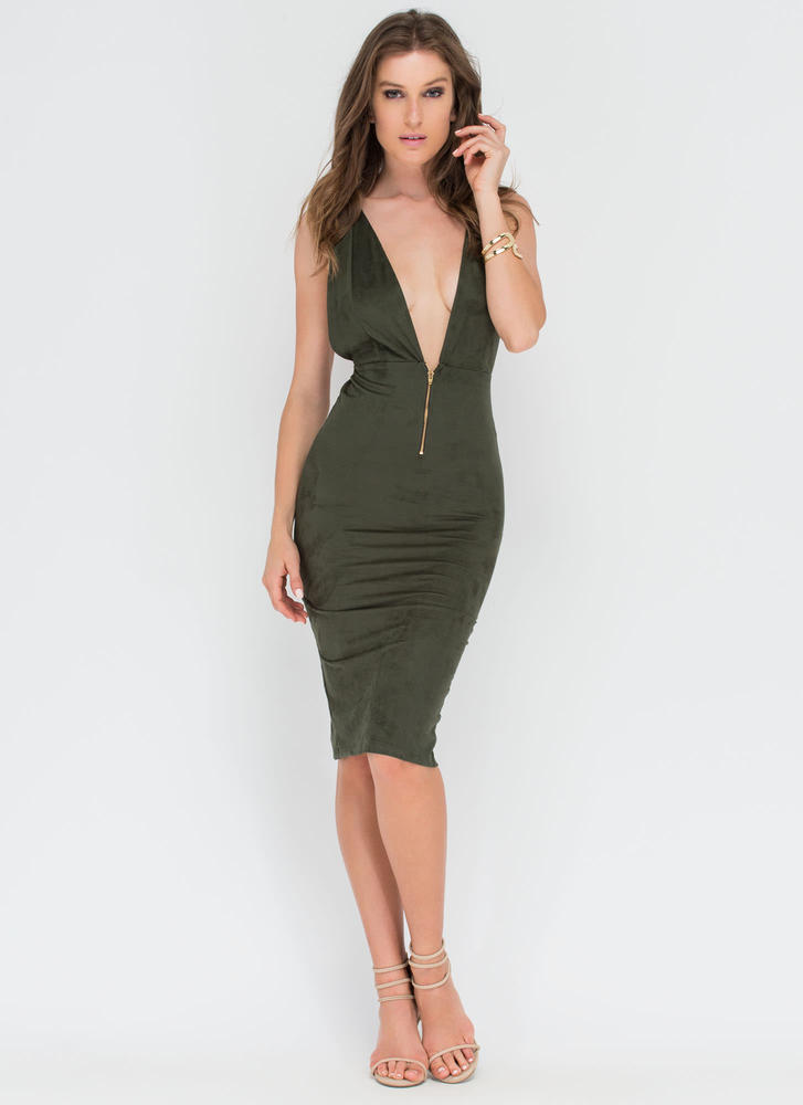 Take Notice Plunging Faux Suede Dress OLIVE (Final Sale)