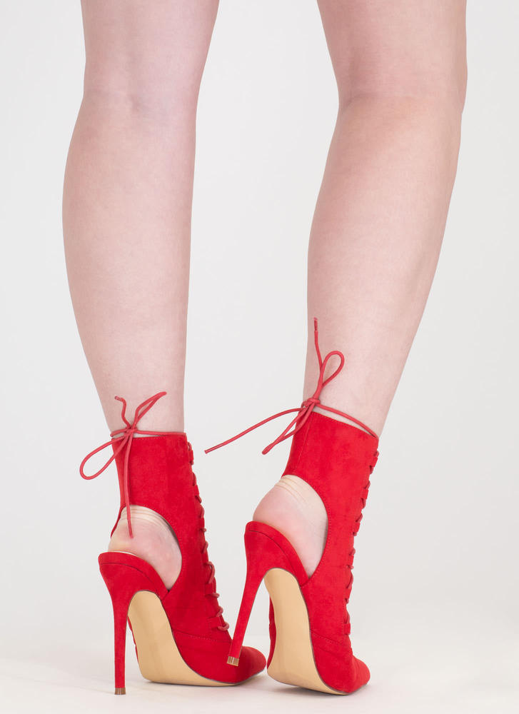 Point Out Lace-Up Faux Suede Heels RED