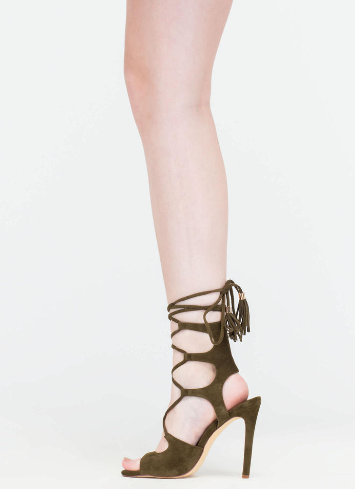 Boho Cues Caged Lace-Up Heels OLIVE (Final Sale)