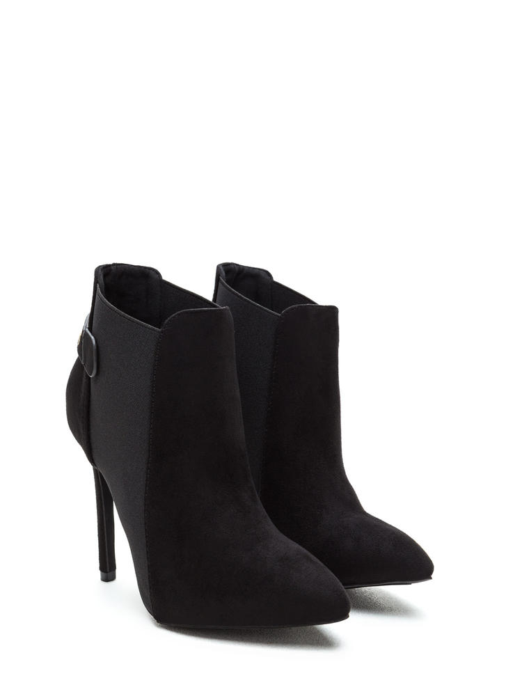 Hide And Chic Pointed Stiletto Booties BLACK