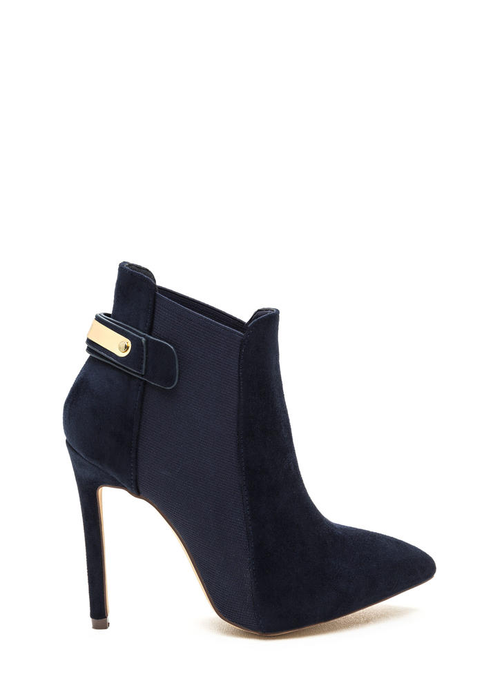 Hide And Chic Pointed Stiletto Booties NAVY
