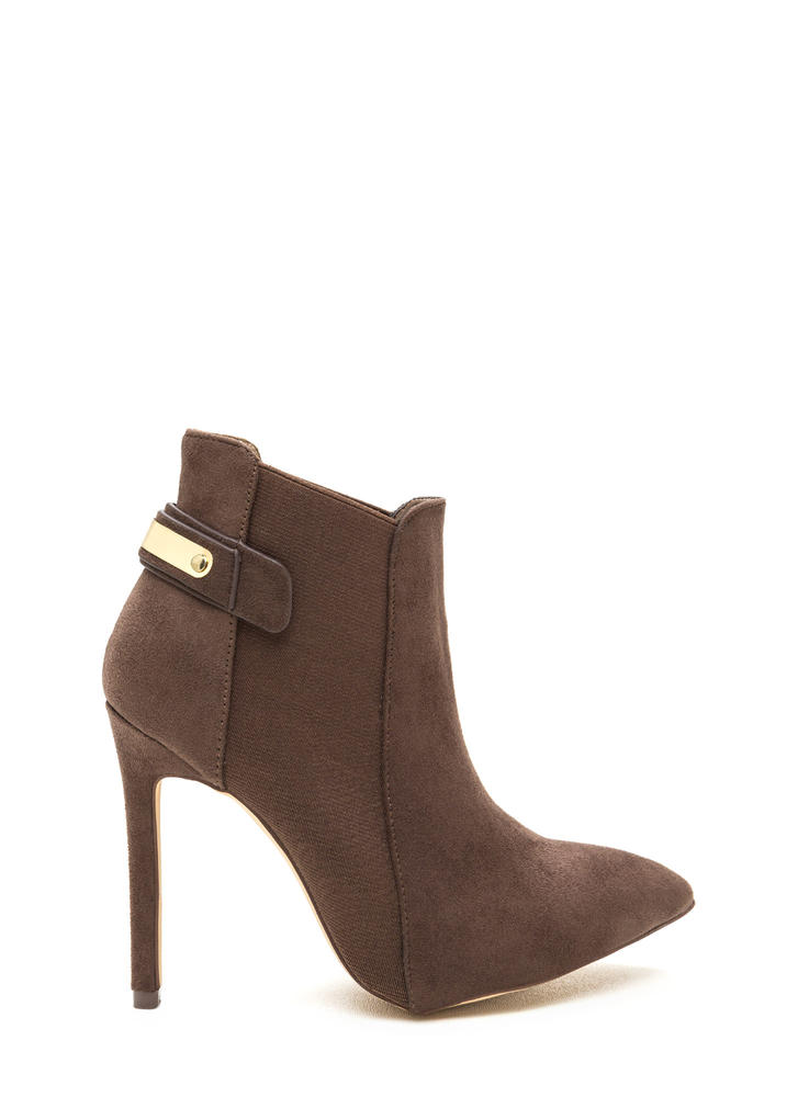 Hide And Chic Pointed Stiletto Booties TAUPE