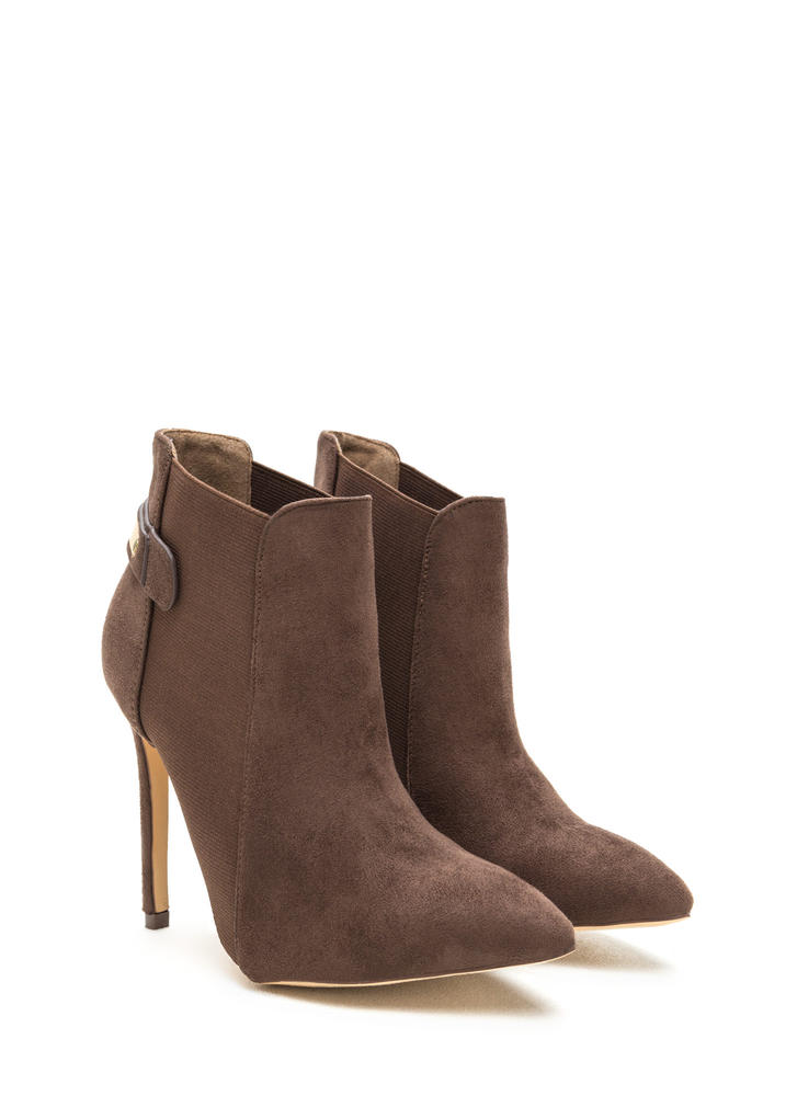 Hide And Chic Pointed Stiletto Booties TAUPE (Final Sale)