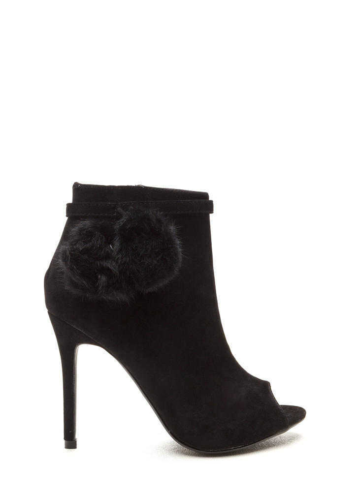 Fluff Up Pom-Pom Peep-Toe Booties