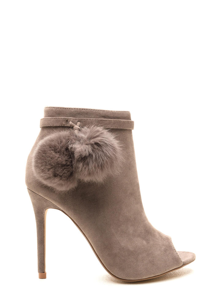 Fluff Up Pom-Pom Peep-Toe Booties GREY
