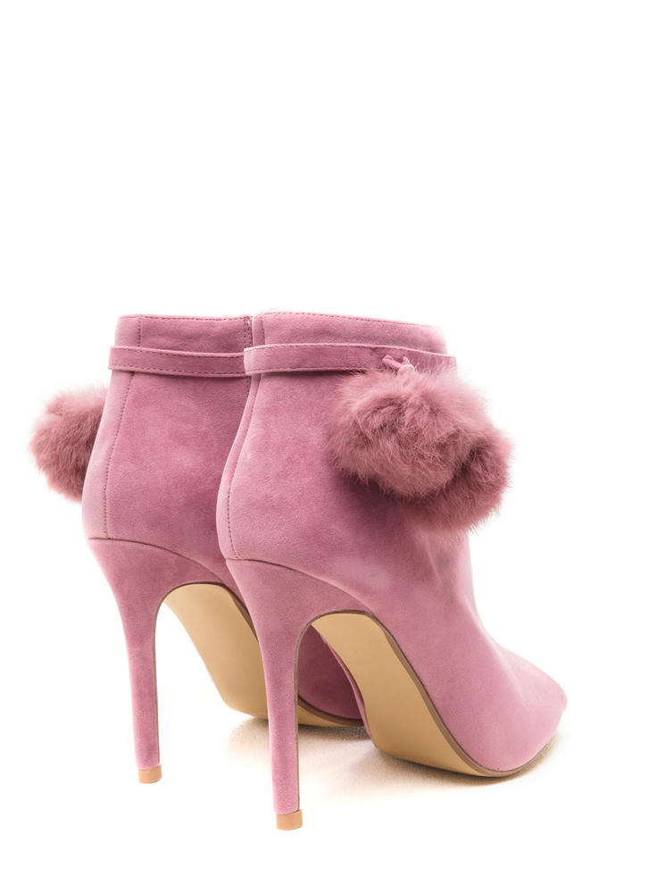 Fluff Up Pom-Pom Peep-Toe Booties MAUVE