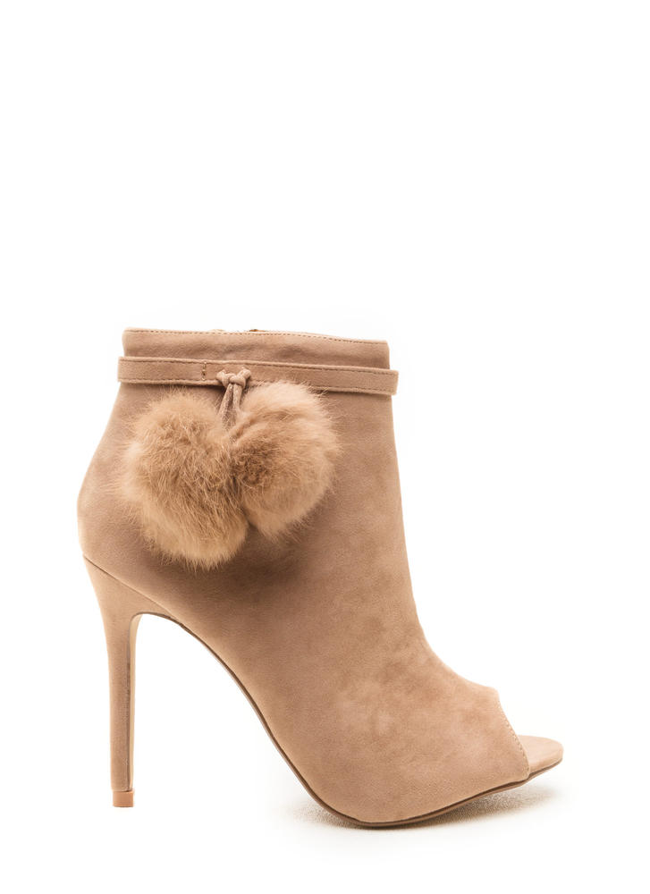 Fluff Up Pom-Pom Peep-Toe Booties TAUPE