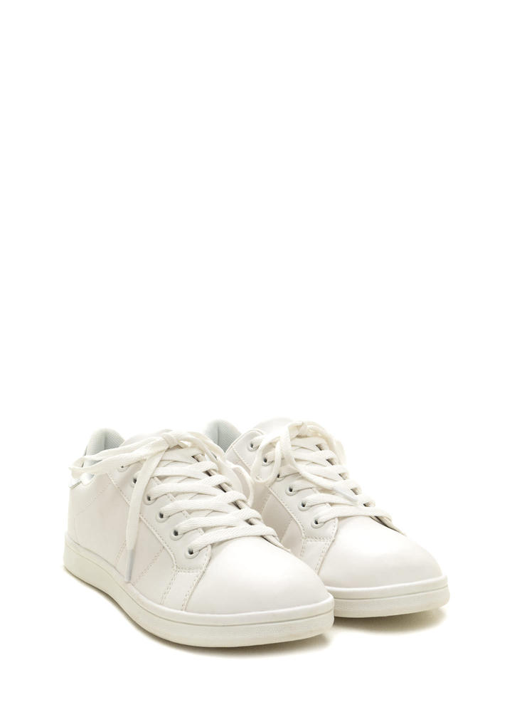 Courtside Faux Leather Contrast Sneakers WHITESILVER