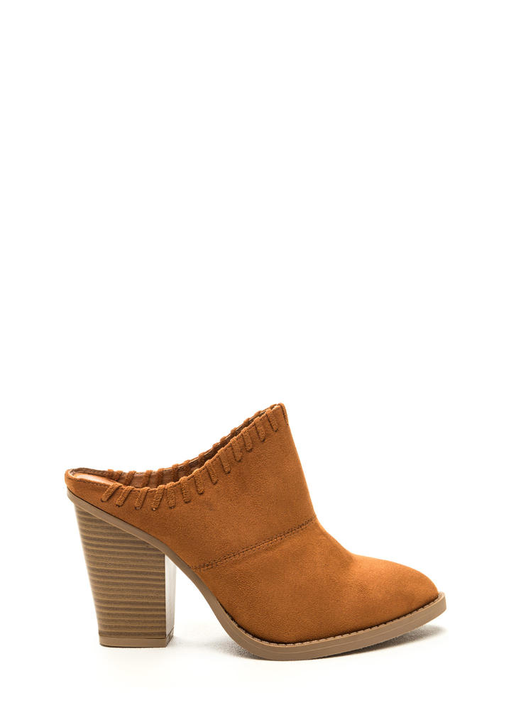 Stitch It Pointy Chunky Mule Heels
