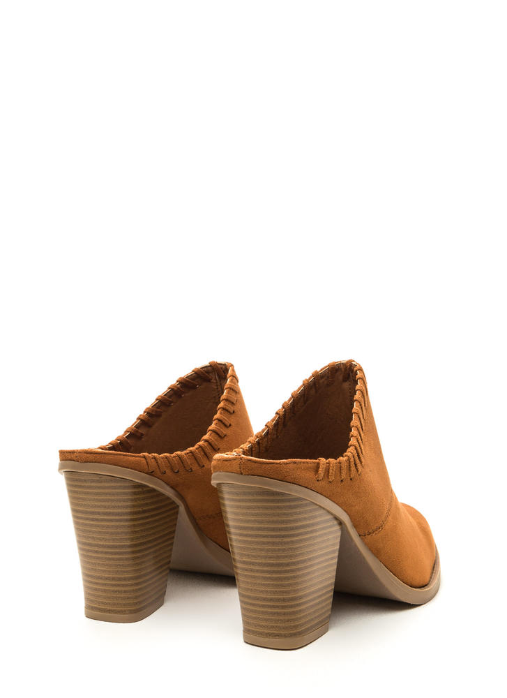 Stitch It Pointy Chunky Mule Heels WHISKY