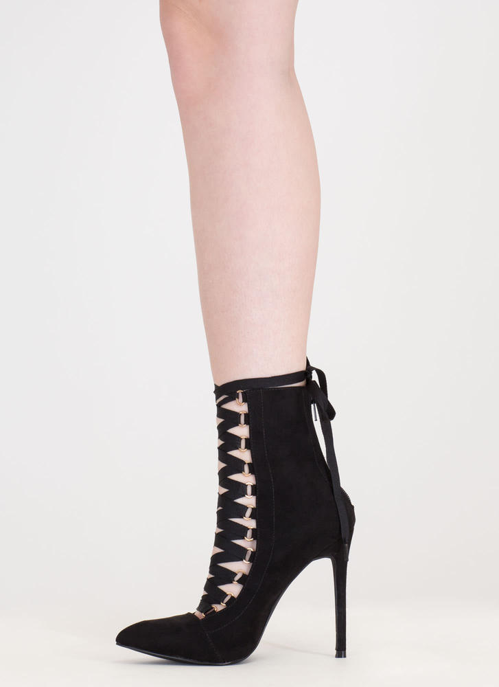 About Town Faux Suede Lace-Up Booties BLACK