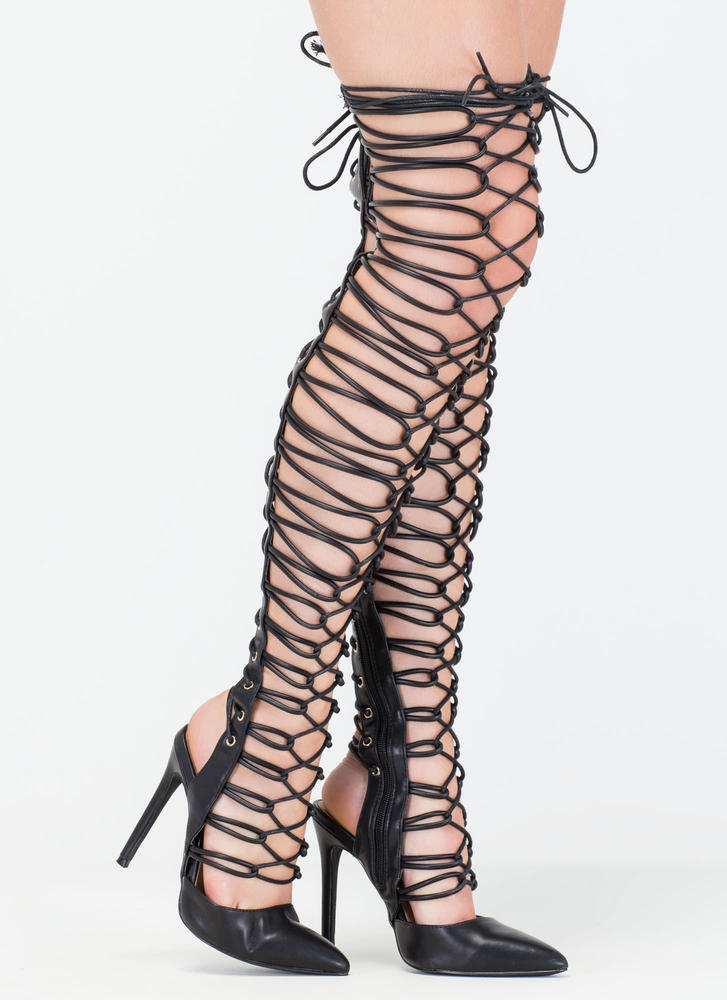 Glam Guru Over-The-Knee Gladiator Heels