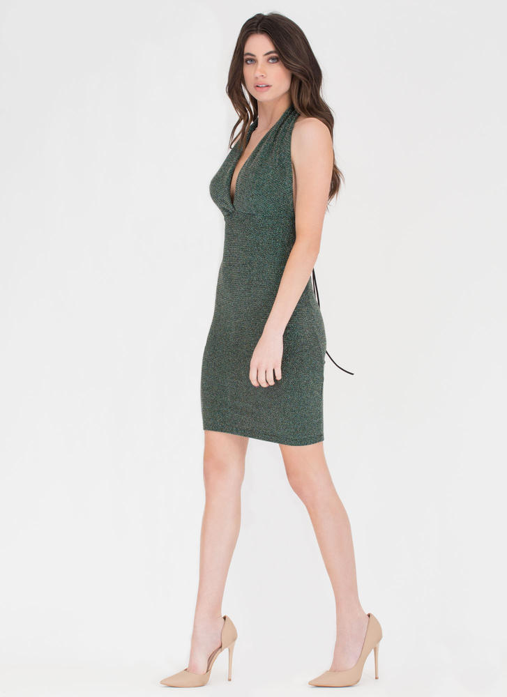 Turn The Tied Sparkly Plunging Dress EMERALD (Final Sale)