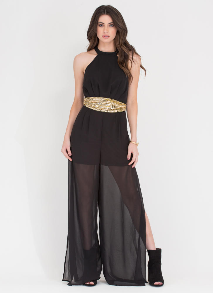 Skip A Bead Wide Chiffon Jumpsuit BLACK (Final Sale)