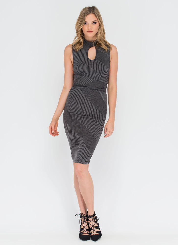 Between The Lines Tied-Up Midi Dress GREY (Final Sale)